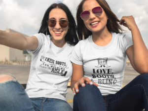 two-beautiful-girls-wearing-round-neck-tees-mockup-while-outdoors-a16907